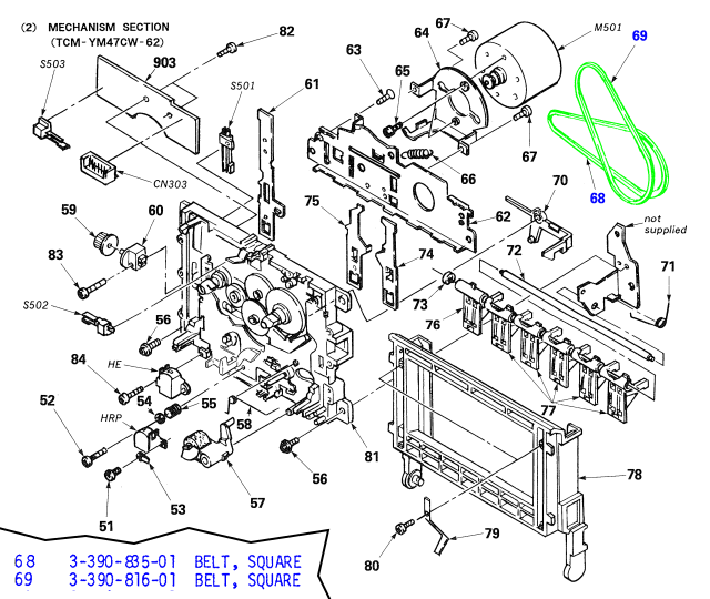 Cassette mechanism exploded view